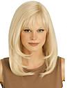 blont långt högkvalitativa naturliga rakt hår syntetisk peruk med gratis bang