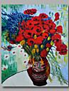 bereit, gestreckten handgemalte OElgemaelde Leinwand Van Gogh repro Vase mit Margeriten und Mohnblumen ein Panel haengen