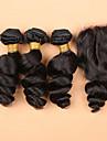 SLOVE 7a malaysiska lös våg hårförlängning med silke bas stängning jungfru människohår 3 buntar med silke bas stängning