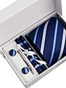 Cravată / Buzunar Pâtrat / Clip Cravată / Butoni ( Albastru Bleumarin , Poliester ) Model