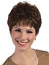 Capless hög temperatur fiber kort syntes hår fullt bang peruker
