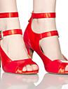 Chaussures de danse ( Rouge / Autre ) - Non personnalisable - Talon aiguille - Satin / Cuir - Danse latine