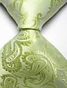 Men Wedding Cocktail Necktie At Work White Green Flower Tie