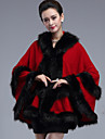 Wedding  Wraps / Fur Coats / Hoods & Ponchos Capes Sleeveless Faux Fur / Imitation Cashmere Red Wedding Feathers / fur / Tiered Open Front
