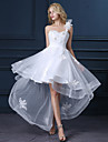 A-line Wedding Dress Asymmetrical One Shoulder Satin / Tulle with Appliques