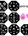 10pcs nail plates+ 1set nail stamper and scraper - Autre decorations - Doigt / Orteil - en Fleur - 6.0cm for dia