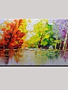 Hand-Painted Color Tree Abstract Landscape Modern Oil Painting On Canvas One Panel Ready To Hang