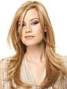 Capless hög kvalitet ganska medel rak blond färg syntetisk peruk