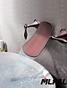 Antiikki Seinäasennus Vesiputous with  Keraaminen venttiili Kaksi kahvaa kolme reikää for  Oil-rubbed Bronze , Ammehana / Kylpyhuone Sink