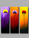 Ready to Hang Stretched Framed Hand-painted Oil Painting Three Panels Canvas Wall Art Purple Red Yellow Flowers