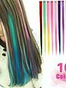 lång syntetisk rak och klipp i hårförlängningar med 1 clips 10 färg tillgängliga