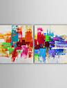 HANDMÅLAD AbstraktModerna Två paneler Kanvas Hang målad oljemålning For Hem-dekoration