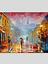 oljemålningar moderna landskapet regnig gata, canvas material med trä bår redo att hänga storlek: 60 * 90 cm.