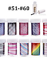 New 100Designs Nail Art Transfer Foil Paper 10pcs + 1pcs Nail Foil Glue (from #51 to #60)
