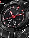 NAVIFORCE Bărbați Ceas de Mână Quartz LED Rezistent la Apă Oțel inoxidabil Bandă Luxos NegruNegru/Roșu Negru/Galben Negru/Alb