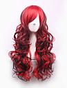 sexig svart röd mix markera tips lockigt syntetiskt hår fullt kvinnors cosplay peruk