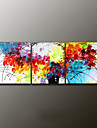 Hand-Painted Floral/Botanical Modern Oil Painting , Canvas Three Panels