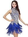 Latin Dance Dresses Women\'s Performance Polyester / Sequined Tassel(s) 1 Piece Black / Purple / Red / Royal Blue / White