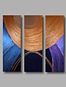 HANDMÅLAD Abstrakt / Abstrakta porträttModerna Tre paneler Kanvas Hang målad oljemålning For Hem-dekoration