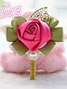 """Wedding Flowers Round Roses Boutonnieres Wedding Satin 3.15""""(Approx.8cm)"""