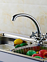 Contemporain norme Spout Montage Pivotant with  Valve en laiton Deux poignees un trou for  Chrome , Robinet de Cuisine