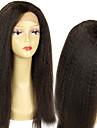"""obearbetade 10 """"-26"""" peruanska jungfru hår naturliga färg kinky raka fullt spets peruk 150% densitet människohår peruker"""