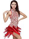 Latin Dance Dresses Women\'s Performance Polyester / Sequined Tassel(s) 1 Piece Black / Purple / Red / Royal Blue / White
