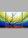 """redo att hänga sträckte handmålade oljemålning 48 """"x24"""" tre paneler duk vägg konst rosa blomma blommor blå"""