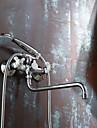 Contemporain Montage mural Douchette inclue / Pivotant with  Valve en ceramique Deux poignees Deux trous for  Chrome , Robinet lavabo