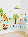 Wall Stickers Wall Decals Style Forest Animal Owl Waterproof Removable PVC Wall Stickers
