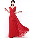 Floor-length Chiffon Bridesmaid Dress A-line Straps with Criss Cross