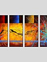 Peint a la main AbstraitStyle europeen / Modern / Classique / Traditionnel / Pastoral Quatre Panneaux Toile Peinture a l\'huile Hang-peint