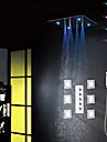 Robinet de douche - Contemporain - LED / Douche pluie / Widespary / Douchette inclue - Laiton (Chrome)