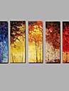 HANDMÅLAD Abstrakt / LandskapModerna Fem paneler Kanvas Hang målad oljemålning For Hem-dekoration