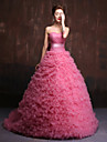 Formal Evening Dress Ball Gown Sweetheart Chapel Train Tulle / Charmeuse with Flower(s) / Sash / Ribbon / Criss Cross