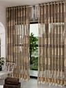 Deux Panneaux Europeen Rayure / Floral / Botanique / Courbe Cafe Salle de sejour Polyester Sheer Rideaux Shades