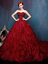 Formal Evening Dress Ball Gown Sweetheart Chapel Train Lace / Tulle / Charmeuse with Beading / Ruffles / Sash / Ribbon / Sequins