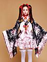 Une Piece/Robes Doux Wa Lolita Cosplay Vetrements Lolita Mosaique Imprime Manches longues Moyen Robe Pour Plastique Renforce de Fibres