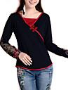 Mulheres Camiseta Casual Simples Primavera,Bordado Preto Seda / Algodao / Elastano Decote V Manga Longa Media