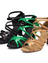 Chaussures de danse ( Noir / Jaune / Vert ) - Personnalisables - Talon Personnalise - Satin - Latine / Salsa / Samba