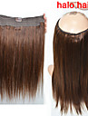 nytt mode 100g / påse långa raka människohår flip i halo hårförlängningar fisk linje hår vävning 4 # brun