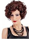 femmes de mode elegantes perruques synthetiques de vin rouge de resistance a la chaleur a court decote moyenne cruly ondulee