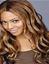 lång längd vackert hår europeisk väva blandad hårfärg syntetisk peruk