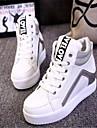 Femme Chaussures Similicuir Printemps Automne Talon Compense Lacet Pour Decontracte Blanc Noir