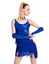 Latin Dance Dresses Women\'s Performance Sequined / Milk Fiber Tassel(s) 1 Piece Black / Blue / Fuchsia / Red Latin DanceSpring, Fall,
