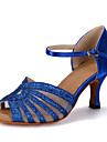 Chaussures de danse(Bleu / Rouge / Or) -Personnalisables-Talon Bobine-Satin / Paillette Brillante-Ventre / Latine / Jazz / Baskets de
