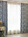 Deux Panneaux Moderne Floral / Botanique Bleu / Pourpre chambre d\'enfants Polyester Rideaux occultants rideaux
