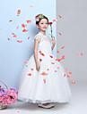 A-line Floor-length Flower Girl Dress-Chiffon / Lace Sleeveless