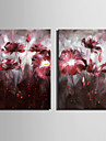 HANDMÅLAD Blommig/BotaniskEuropeisk Stil En panel Kanvas Hang målad oljemålning For Hem-dekoration