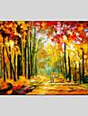 HANDMÅLAD Abstrakta landskapEuropeisk Stil / Moderna En panel Kanvas Hang målad oljemålning For Hem-dekoration